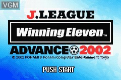 Title screen of the game J.League Winning Eleven Advance 2002 on Nintendo GameBoy Advance