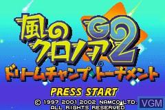 Title screen of the game Kaze no Klonoa G2 - Dream Champ Tournament on Nintendo GameBoy Advance