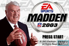 Title screen of the game Madden NFL 2003 on Nintendo GameBoy Advance
