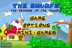 Title screen of the game Revenge of The Smurfs, The on Nintendo GameBoy Advance