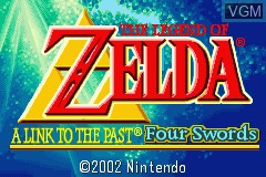 Title screen of the game Legend of Zelda, The - A Link to the Past & Four Swords on Nintendo GameBoy Advance