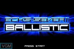 Title screen of the game Ballistic - Ecks vs. Sever on Nintendo GameBoy Advance