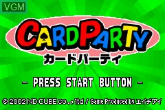 Title screen of the game Card Party on Nintendo GameBoy Advance