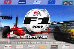 Title screen of the game F1 2002 on Nintendo GameBoy Advance