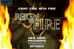 Title screen of the game Reign of Fire on Nintendo GameBoy Advance