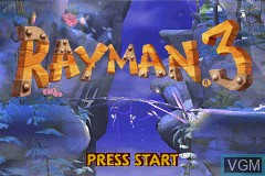 Title screen of the game Rayman 3 on Nintendo GameBoy Advance
