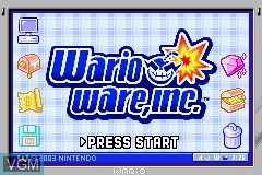 Title screen of the game WarioWare, Inc. - Mega Microgame$! on Nintendo GameBoy Advance