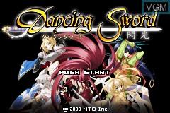 Title screen of the game Dancing Sword - Senkou on Nintendo GameBoy Advance