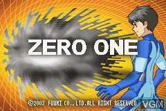 Title screen of the game Zero One on Nintendo GameBoy Advance