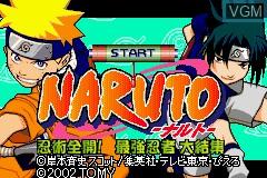 Title screen of the game Naruto - Ninjutsu Zenkai! Saikyou Ninja Daikesshuu on Nintendo GameBoy Advance