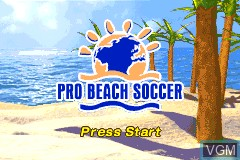 Title screen of the game Pro Beach Soccer on Nintendo GameBoy Advance