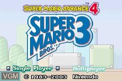 Title screen of the game Super Mario Advance 4 - Super Mario Bros. 3 on Nintendo GameBoy Advance