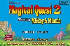 Title screen of the game Magical Quest 2 Starring Mickey & Minnie on Nintendo GameBoy Advance