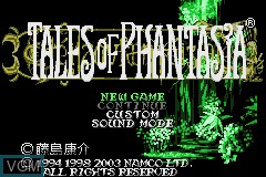 Title screen of the game Tales of Phantasia on Nintendo GameBoy Advance