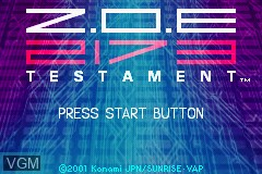 Title screen of the game Z.O.E. 2173 - Testament on Nintendo GameBoy Advance