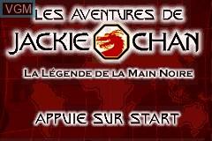Title screen of the game Aventures de Jackie Chan, Les - La Legende de la Main Noire on Nintendo GameBoy Advance