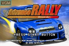 Title screen of the game Advance Rally on Nintendo GameBoy Advance