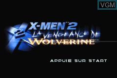Title screen of the game X-Men 2 - La Vengeance de Wolverine on Nintendo GameBoy Advance