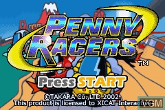 Title screen of the game Penny Racers on Nintendo GameBoy Advance