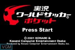 Title screen of the game Jikkyou World Soccer Pocket on Nintendo GameBoy Advance