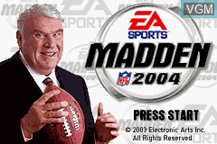 Title screen of the game Madden NFL 2004 on Nintendo GameBoy Advance