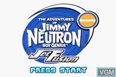 Title screen of the game Adventures of Jimmy Neutron Boy Genius, The - Jet Fusion on Nintendo GameBoy Advance