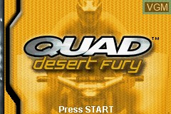 Title screen of the game Quad Desert Fury on Nintendo GameBoy Advance
