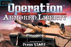 Title screen of the game Operation Armored Liberty on Nintendo GameBoy Advance