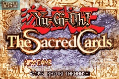 Title screen of the game Yu-Gi-Oh! - The Sacred Cards on Nintendo GameBoy Advance