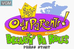 Title screen of the game Fairly OddParents!, The - Breakin' da Rules on Nintendo GameBoy Advance