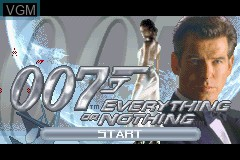 Title screen of the game 007 - Everything or Nothing on Nintendo GameBoy Advance