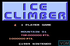 Title screen of the game Classic NES Series - Ice Climber on Nintendo GameBoy Advance