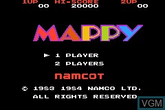 Title screen of the game Famicom Mini 08 - Mappy on Nintendo GameBoy Advance
