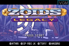 Title screen of the game Zoids Legacy on Nintendo GameBoy Advance