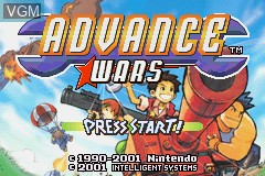 Title screen of the game Advance Wars on Nintendo GameBoy Advance