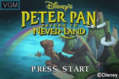 Title screen of the game Peter Pan - Return to Neverland on Nintendo GameBoy Advance