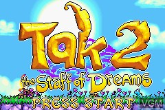 Title screen of the game Tak 2 - The Staff of Dreams on Nintendo GameBoy Advance