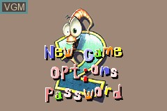 Title screen of the game Earthworm Jim 2 on Nintendo GameBoy Advance