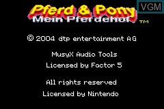 Title screen of the game Pferd & Pony - Mein Pferdehof on Nintendo GameBoy Advance
