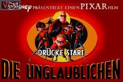 Title screen of the game Unglaublichen, Die on Nintendo GameBoy Advance