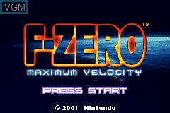 Title screen of the game F-Zero - Maximum Velocity on Nintendo GameBoy Advance