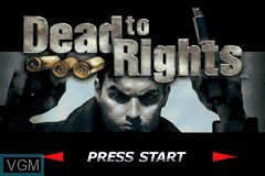 Title screen of the game Dead to Rights on Nintendo GameBoy Advance