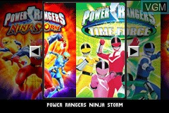 Title screen of the game 2 Games in 1 - Power Rangers - Ninja Storm & Power Rangers - Time Force on Nintendo GameBoy Advance