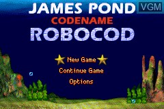 Title screen of the game James Pond - Codename Robocod on Nintendo GameBoy Advance