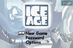 Title screen of the game Ice Age on Nintendo GameBoy Advance
