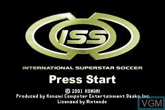 Title screen of the game International Superstar Soccer on Nintendo GameBoy Advance