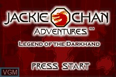 Title screen of the game Jackie Chan Adventures - Legend of the Dark Hand on Nintendo GameBoy Advance