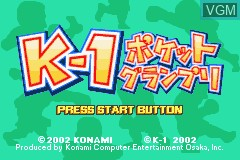 Title screen of the game K-1 Pocket Grand Prix on Nintendo GameBoy Advance