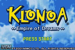 Title screen of the game Klonoa - Empire of Dreams on Nintendo GameBoy Advance