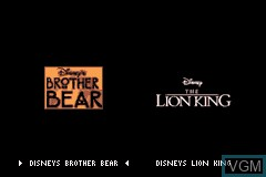 Title screen of the game 2 Games in 1 - Brother Bear & The Lion King on Nintendo GameBoy Advance